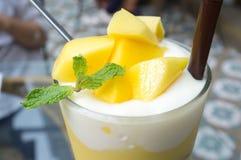 Yogurt Smothie del mango Immagine Stock Libera da Diritti