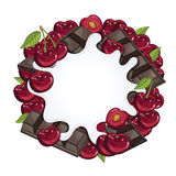 Yogurt splash isolated on chocolate and cherry Royalty Free Stock Images