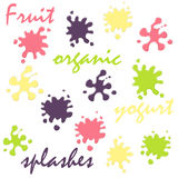 Yogurt splashes set Royalty Free Stock Photography