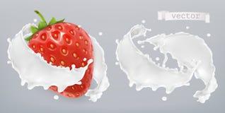 Yogurt, spruzzata del latte con la fragola Metta gli elementi di vettore 3d royalty illustrazione gratis