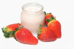 Yogurt with strawberries Royalty Free Stock Image