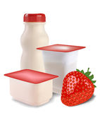 Yogurt and strawberries Stock Photos