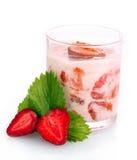 Yogurt and strawberries Stock Photography