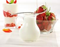 Yogurt with strawberries Stock Photos