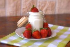 Yogurt and strawberries Royalty Free Stock Image