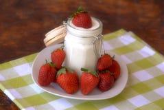 Yogurt and strawberries Royalty Free Stock Photo