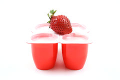 Yogurt and strawberries Stock Image