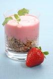 Yogurt with strawberries Royalty Free Stock Photos