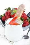Yogurt with strawberries  Royalty Free Stock Photos