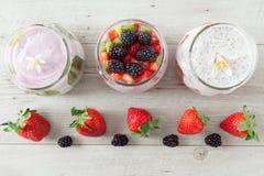 Yogurt With Strawberries And Blackberries Royalty Free Stock Image