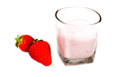 Yogurt with strawberries Royalty Free Stock Images