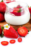 Yogurt With Strawberries Royalty Free Stock Photography