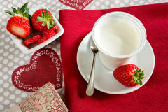 Yogurt with strawberries Royalty Free Stock Photo