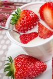 Yogurt with strawberries Stock Photo