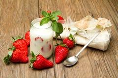 Yogurt with strawberry Royalty Free Stock Photos