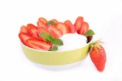 Yogurt and strawberry Stock Photography