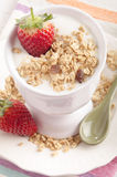 Yogurt with strawberry and cereals Stock Photo
