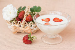 Yogurt with strawberry in glass bowl Royalty Free Stock Image
