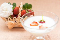 Yogurt with strawberry in glass bowl Stock Photo