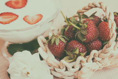 Yogurt with strawberry in glass bowl Royalty Free Stock Photos