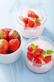 Yogurt and strawberry Stock Photos