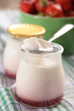 Yogurt with strawberry jam Royalty Free Stock Images