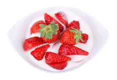 Yogurt with strawberry pieces and clipping path Royalty Free Stock Photos