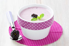 Yogurt with sweet dewberry Stock Photos