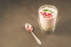 Yogurt. Sweet organic dessert with yogurt, garnet and mint in beautiful glasses on dark background with copy space royalty free stock photography