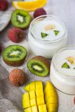 Yogurt with tropical fruits Royalty Free Stock Photography