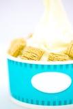 Yogurt vanilla ice-cream with cereal. Refreshing Provocative tropical smoothie yogurt ice-cream with cereal Stock Photo