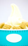 Yogurt vanilla ice-cream with cereal. Refreshing Provocative tropical smoothie yogurt ice-cream with cereal Royalty Free Stock Photography