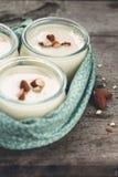 Yogurt vegetariano del latte della mandorla fotografie stock libere da diritti