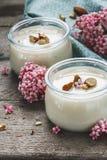 Yogurt vegetariano delle mandorle con il latte delle mandorle fotografia stock libera da diritti