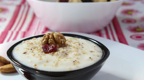 Yogurt and walnuts Royalty Free Stock Images
