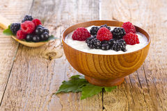 Yogurt with wild berries in wooden bowl Stock Image