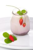 Yogurt and wild strawberrie Stock Photography