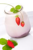 Yogurt and wild strawberries Royalty Free Stock Photo