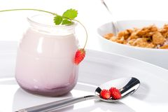 Yogurt, wild strawberries and Royalty Free Stock Image