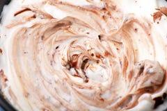 Yogurt (yoghurt) with chocolate. On the table Stock Photos