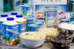 Yogurts de Danone Imagem de Stock