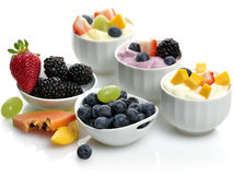 Yogurts With Fruits And Berries Stock Photography