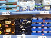 Yogurts in supermarket Royalty Free Stock Photos