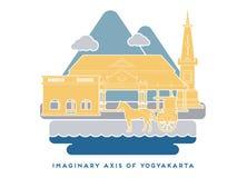 Yogyakarta imaginär axel 4 arkivfoton