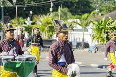Yogyakarta palace soldiers marching in a festival Stock Images