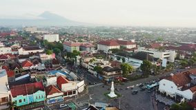 Aerial view of Jogja monument stock footage