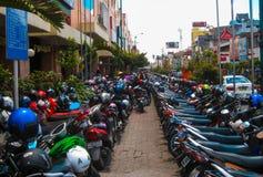 Yogyakarta, Indonesia - January 03, 2012: View about typical hundreds of motorbikes Royalty Free Stock Photo