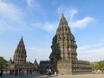 Prambanan Temple Compounds in Yogyakarta. Yogyakarta, Indonesia - October 31, 2018: Some tourist visiting Prambanan temple. Prambanan Temple Compounds is the stock photos