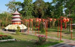 The World Landmarks Merapi Park. Yogyakarta, Indonesia - September 28, 2018: View of The World Landmarks Merapi Park in Sleman Regency. Family resort that royalty free stock photo