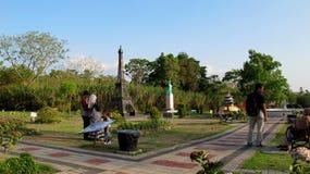 The World Landmarks Merapi Park. Yogyakarta, Indonesia - September 28, 2018: View of The World Landmarks Merapi Park in Sleman Regency. Family resort that stock images